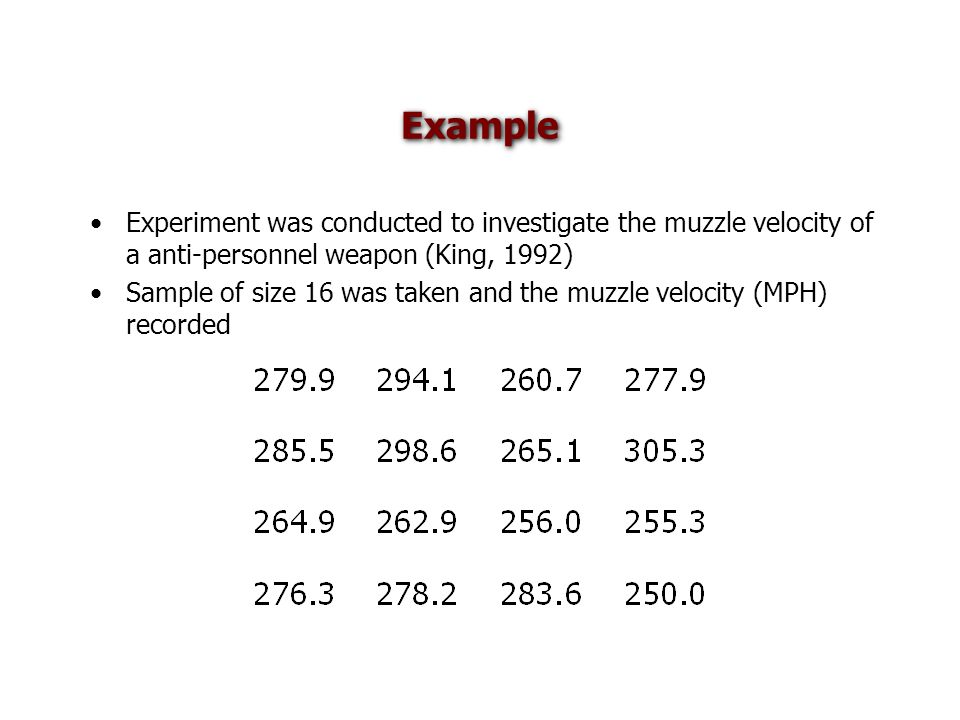 Example Experiment was conducted to investigate the muzzle velocity of a anti-personnel weapon (King, 1992) Sample of size 16 was taken and the muzzle velocity (MPH) recorded