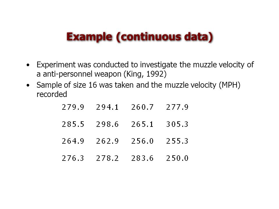 Example (continuous data) Experiment was conducted to investigate the muzzle velocity of a anti-personnel weapon (King, 1992) Sample of size 16 was taken and the muzzle velocity (MPH) recorded