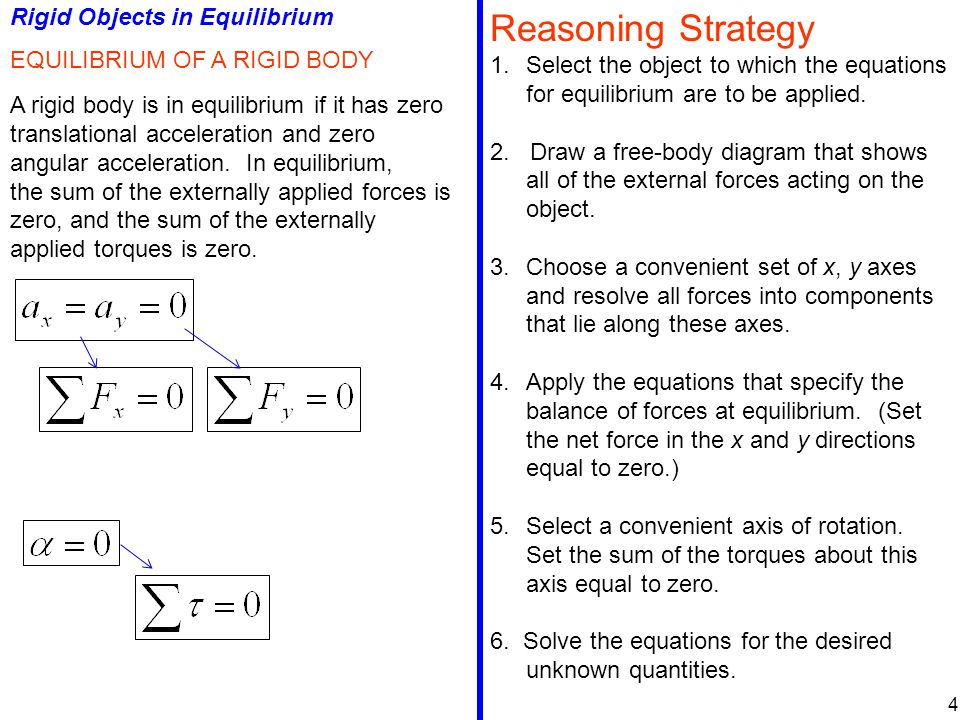 Rigid Objects in Equilibrium EQUILIBRIUM OF A RIGID BODY A rigid body is in equilibrium if it has zero translational acceleration and zero angular acceleration.