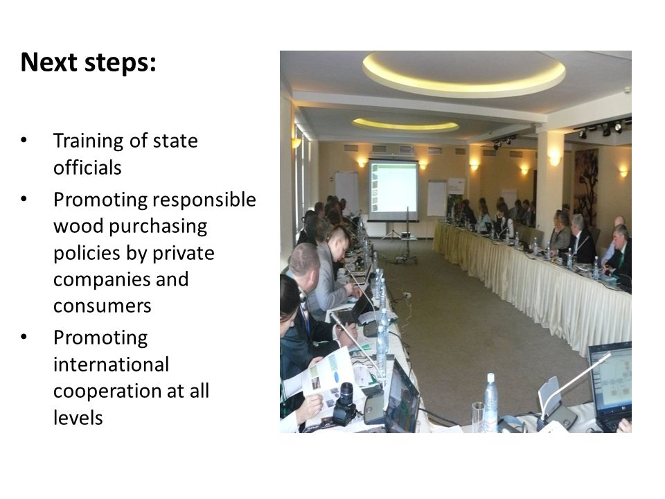 Next steps: Training of state officials Promoting responsible wood purchasing policies by private companies and consumers Promoting international cooperation at all levels