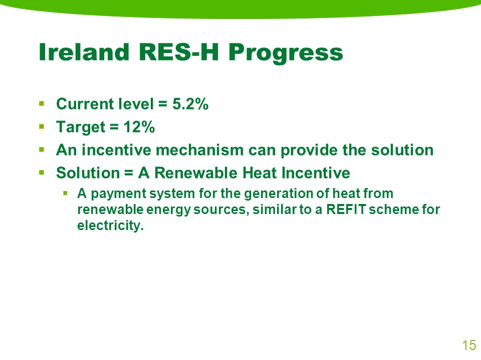 Ireland RES-H Progress  Current level = 5.2%  Target = 12%  An incentive mechanism can provide the solution  Solution = A Renewable Heat Incentive  A payment system for the generation of heat from renewable energy sources, similar to a REFIT scheme for electricity.