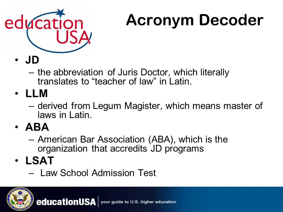 Acronym Decoder JD The Abbreviation Of Juris Doctor Which Literally Translates To Teacher