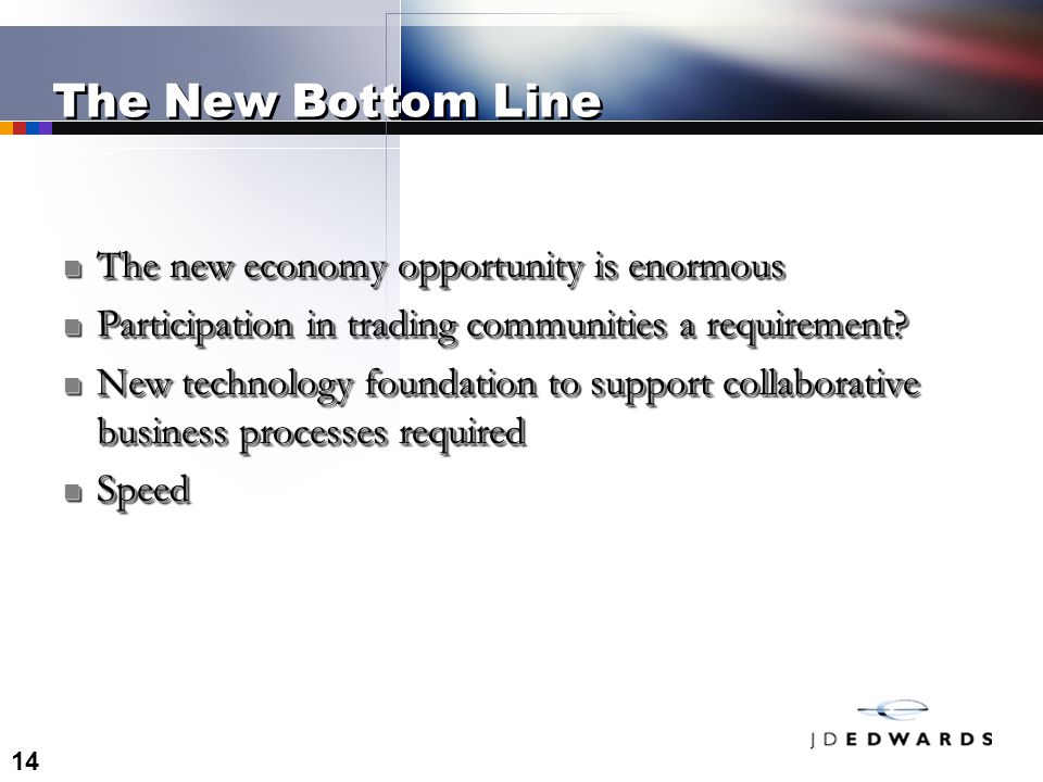 14 The New Bottom Line The new economy opportunity is enormous The new economy opportunity is enormous Participation in trading communities a requirement.