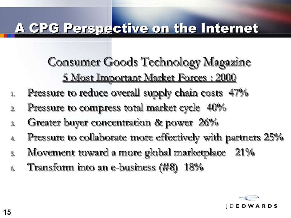 15 A CPG Perspective on the Internet Consumer Goods Technology Magazine 5 Most Important Market Forces :