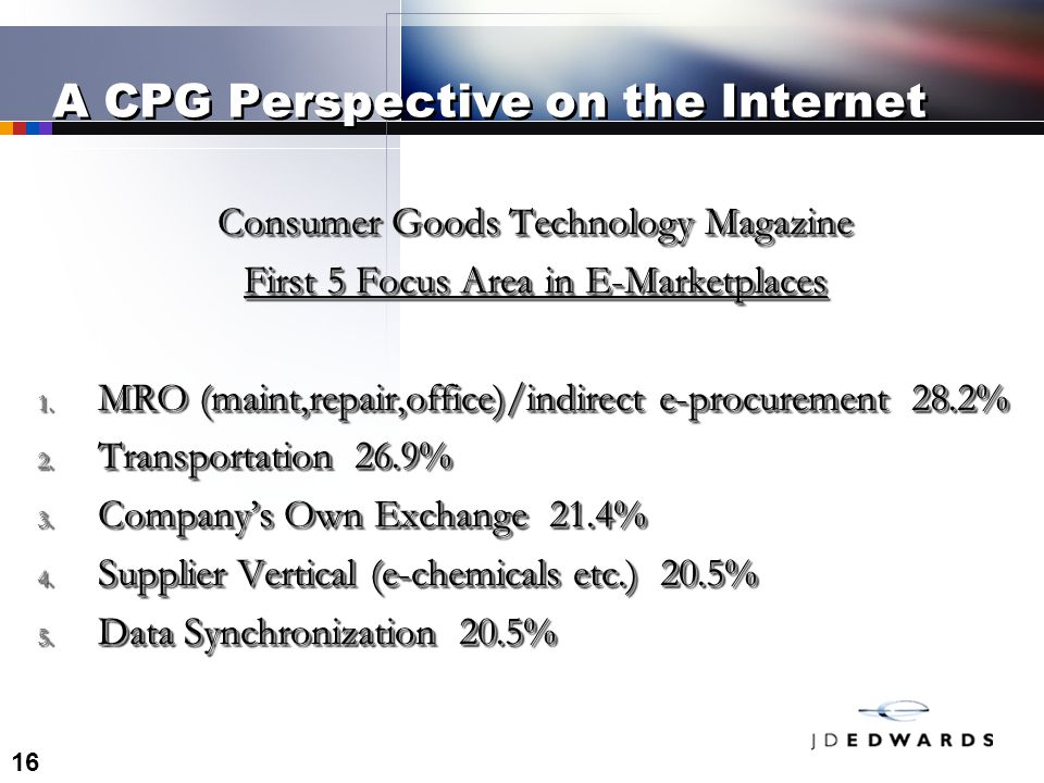 16 A CPG Perspective on the Internet Consumer Goods Technology Magazine First 5 Focus Area in E-Marketplaces 1.