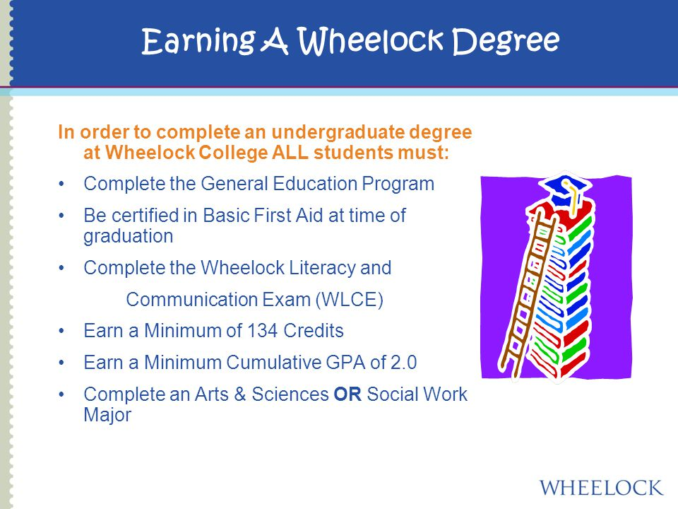 Earning A Wheelock Degree In order to complete an undergraduate degree at Wheelock College ALL students must: Complete the General Education Program Be certified in Basic First Aid at time of graduation Complete the Wheelock Literacy and Communication Exam (WLCE) Earn a Minimum of 134 Credits Earn a Minimum Cumulative GPA of 2.0 Complete an Arts & Sciences OR Social Work Major