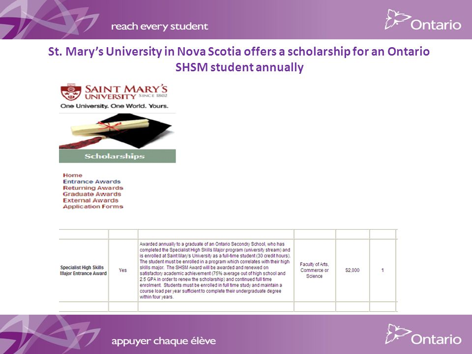 St. Mary's University in Nova Scotia offers a scholarship for an Ontario SHSM student annually
