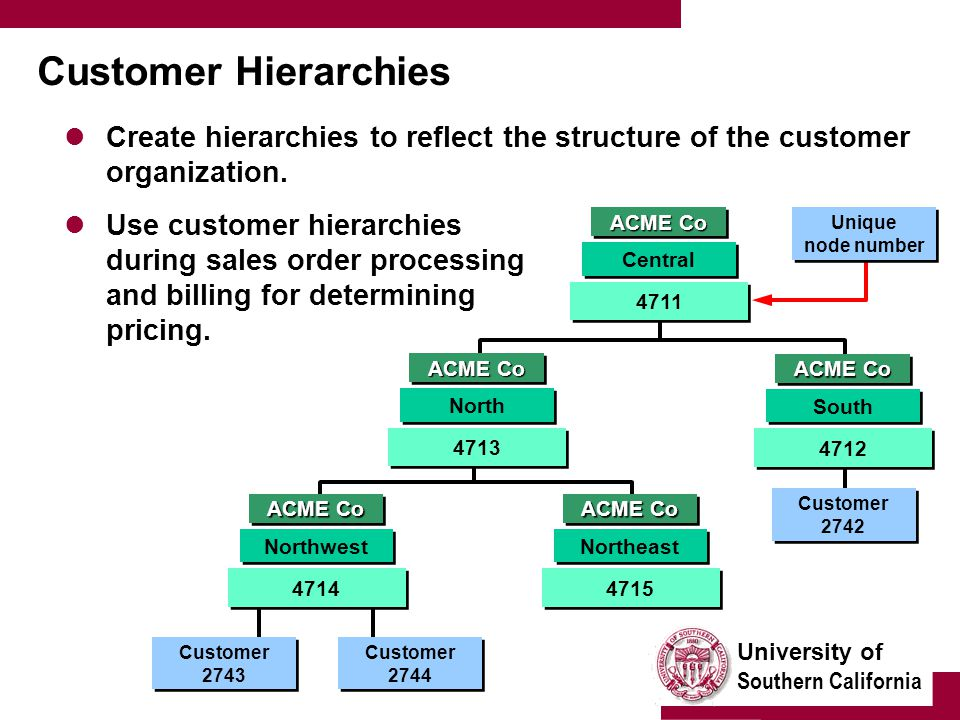 University of Southern California Customer Hierarchies Create hierarchies to reflect the structure of the customer organization.