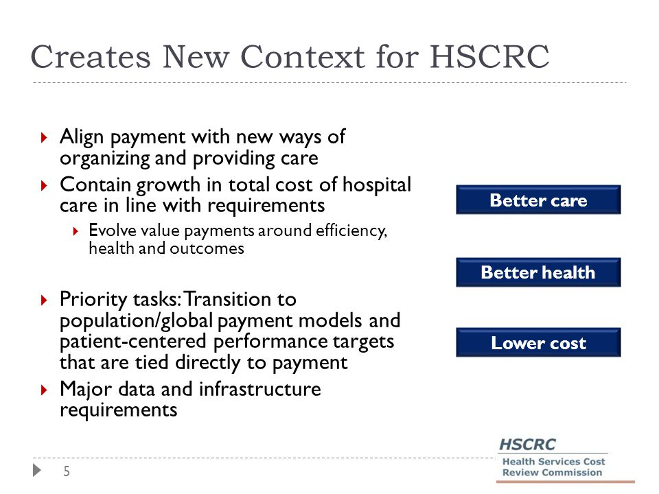 5 Creates New Context for HSCRC  Align payment with new ways of organizing and providing care  Contain growth in total cost of hospital care in line with requirements  Evolve value payments around efficiency, health and outcomes  Priority tasks: Transition to population/global payment models and patient-centered performance targets that are tied directly to payment  Major data and infrastructure requirements Better care Better health Lower cost