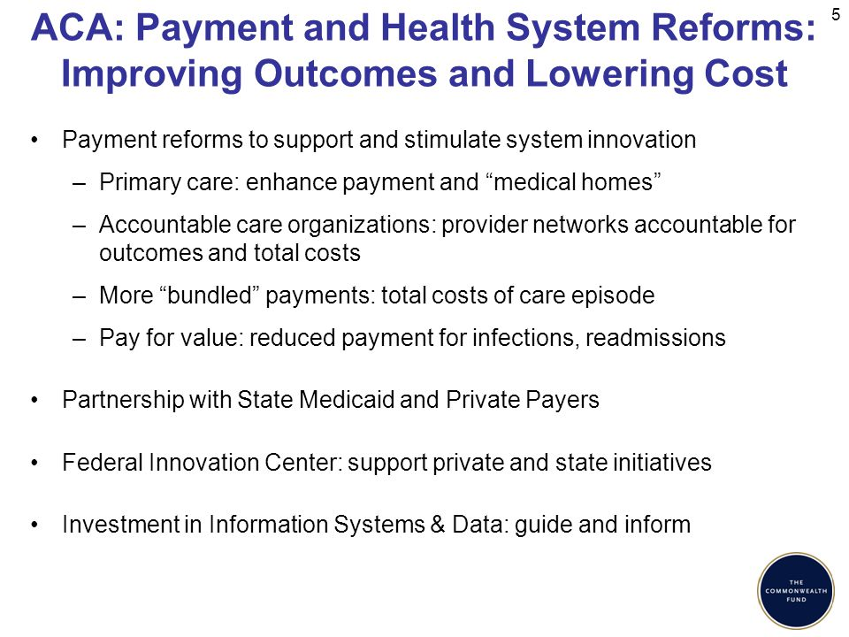 ACA: Payment and Health System Reforms: Improving Outcomes and Lowering Cost Payment reforms to support and stimulate system innovation –Primary care: enhance payment and medical homes –Accountable care organizations: provider networks accountable for outcomes and total costs –More bundled payments: total costs of care episode –Pay for value: reduced payment for infections, readmissions Partnership with State Medicaid and Private Payers Federal Innovation Center: support private and state initiatives Investment in Information Systems & Data: guide and inform 5