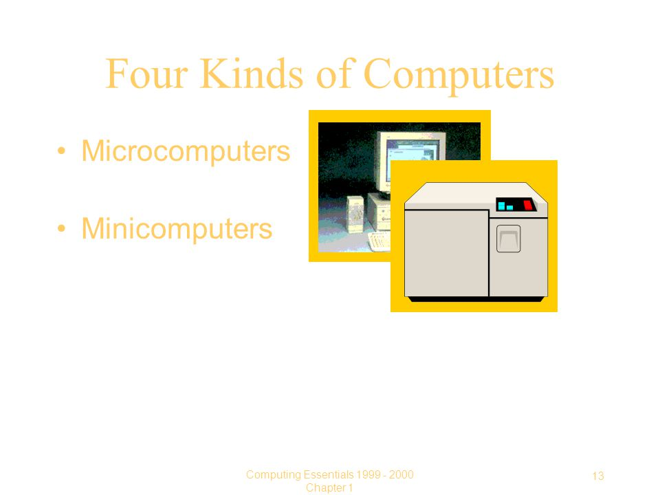 13 Computing Essentials Chapter 1 Four Kinds of Computers Microcomputers Minicomputers