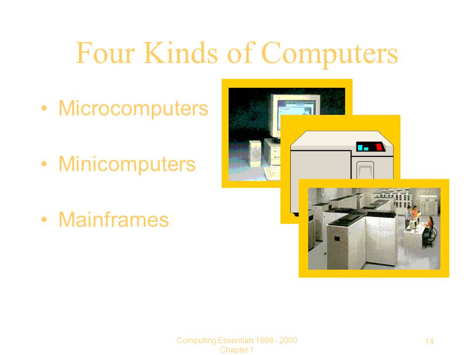 14 Computing Essentials Chapter 1 Four Kinds of Computers Microcomputers Minicomputers Mainframes