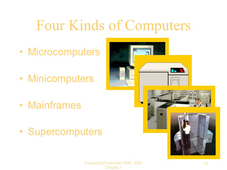 15 Computing Essentials Chapter 1 Four Kinds of Computers Microcomputers Minicomputers Mainframes Supercomputers