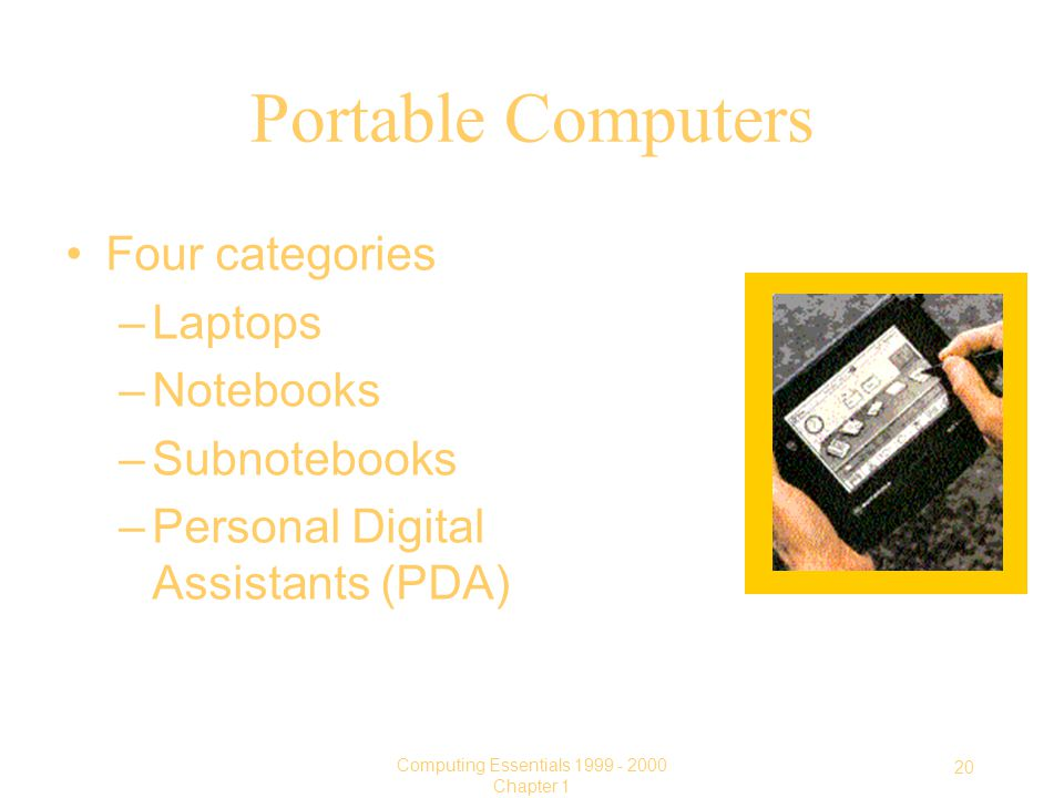 20 Computing Essentials Chapter 1 Four categories –Laptops –Notebooks –Subnotebooks –Personal Digital Assistants (PDA) Portable Computers