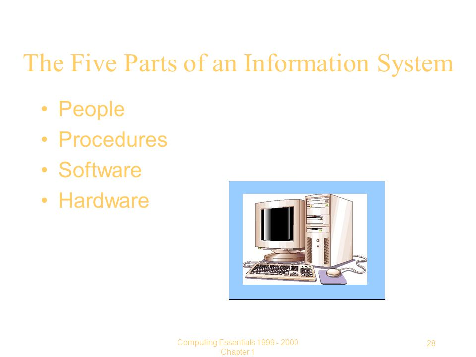 28 Computing Essentials Chapter 1 The Five Parts of an Information System People Procedures Software Hardware