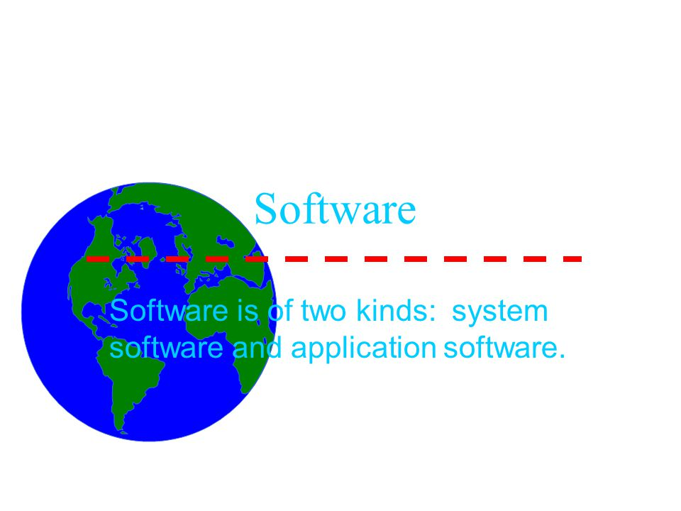 Software Software is of two kinds: system software and application software.