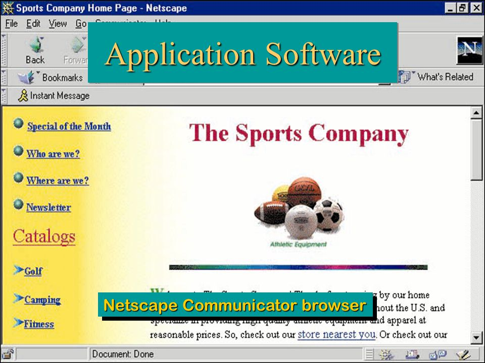 35 Computing Essentials Chapter 1 Application Software Netscape Communicator browser