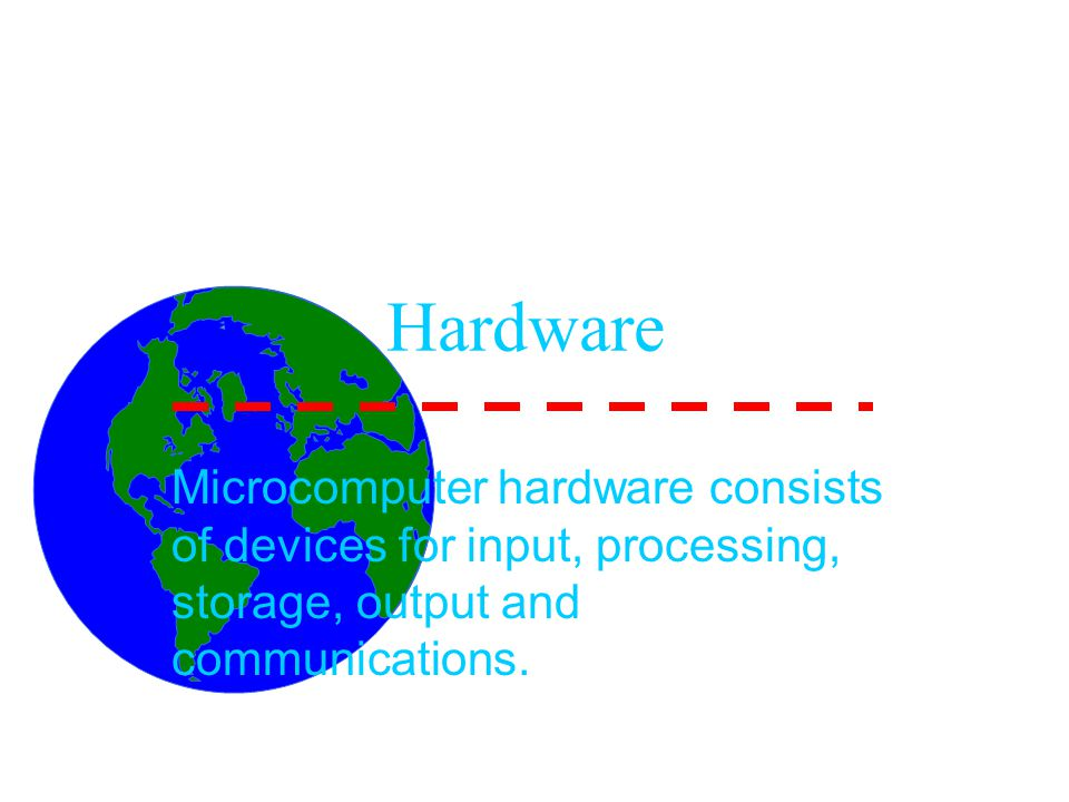 Hardware Microcomputer hardware consists of devices for input, processing, storage, output and communications.