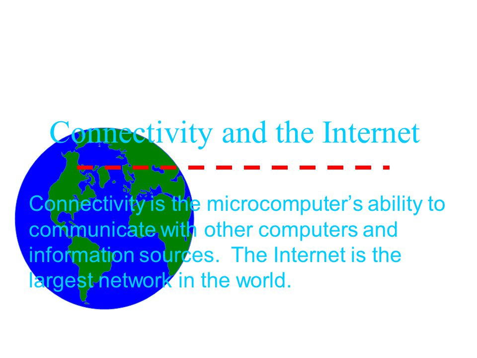 Connectivity and the Internet Connectivity is the microcomputer's ability to communicate with other computers and information sources.