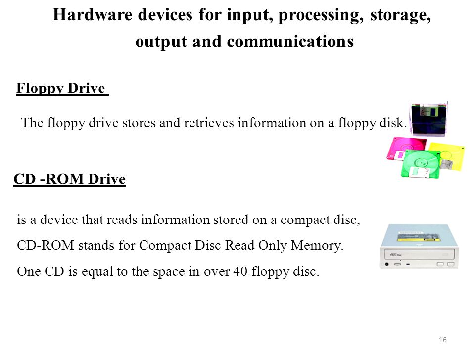 16 Floppy Drive The floppy drive stores and retrieves information on a floppy disk.