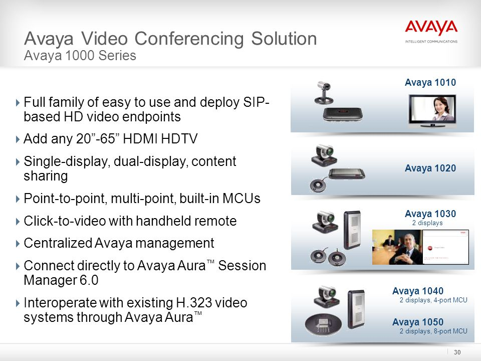 Avaya Video Conferencing Solution Avaya 1000 Series  Full family of easy to use and deploy SIP- based HD video endpoints  Add any HDMI HDTV  Single-display, dual-display, content sharing  Point-to-point, multi-point, built-in MCUs  Click-to-video with handheld remote  Centralized Avaya management  Connect directly to Avaya Aura ™ Session Manager 6.0  Interoperate with existing H.323 video systems through Avaya Aura ™ Avaya 1010 Avaya 1020 Avaya displays, 4-port MCU Avaya displays Avaya displays, 8-port MCU 30