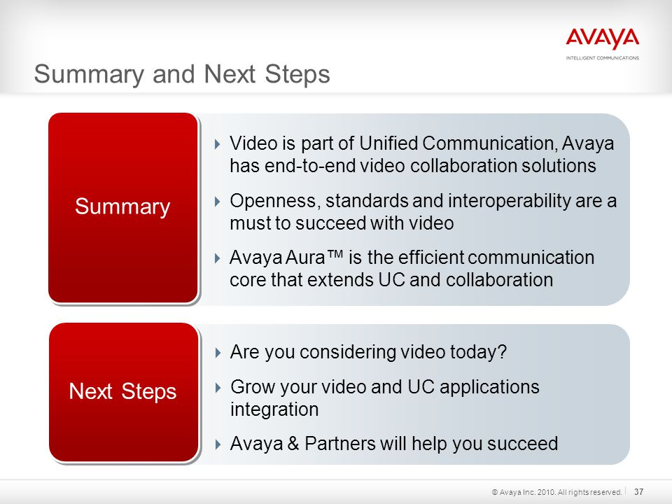 Summary and Next Steps Summary  Video is part of Unified Communication, Avaya has end-to-end video collaboration solutions  Openness, standards and interoperability are a must to succeed with video  Avaya Aura™ is the efficient communication core that extends UC and collaboration Next Steps  Are you considering video today.