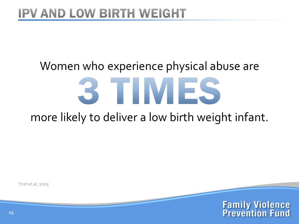 Women who experience physical abuse are 15 Yost et al, 2005 more likely to deliver a low birth weight infant.