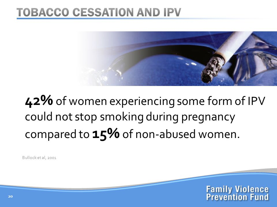 20 Bullock et al, % of women experiencing some form of IPV could not stop smoking during pregnancy compared to 15% of non-abused women.