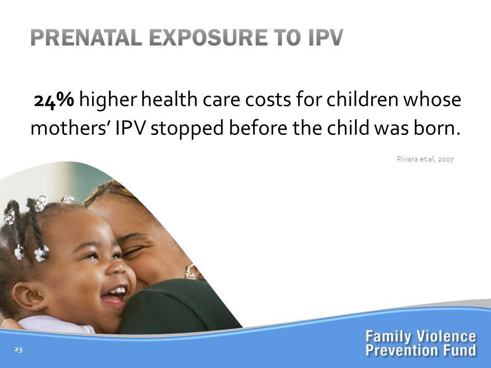 24% higher health care costs for children whose mothers' IPV stopped before the child was born.