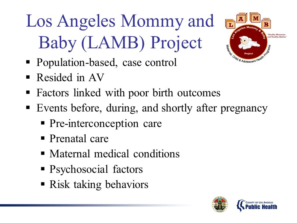  Population-based, case control  Resided in AV  Factors linked with poor birth outcomes  Events before, during, and shortly after pregnancy  Pre-interconception care  Prenatal care  Maternal medical conditions  Psychosocial factors  Risk taking behaviors Los Angeles Mommy and Baby (LAMB) Project