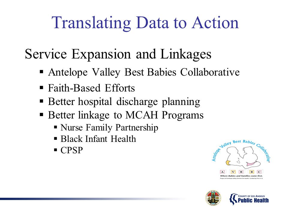 Translating Data to Action Service Expansion and Linkages  Antelope Valley Best Babies Collaborative  Faith-Based Efforts  Better hospital discharge planning  Better linkage to MCAH Programs  Nurse Family Partnership  Black Infant Health  CPSP