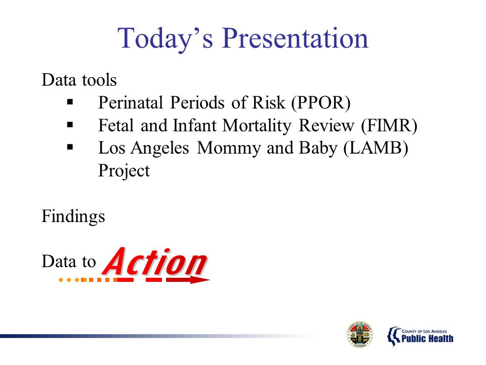 Today's Presentation Data tools  Perinatal Periods of Risk (PPOR)  Fetal and Infant Mortality Review (FIMR)  Los Angeles Mommy and Baby (LAMB) Project Findings Data to