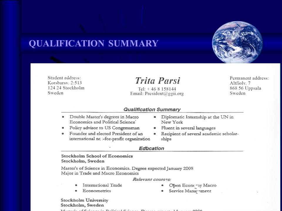 Going Global  2008 QUALIFICATION SUMMARY