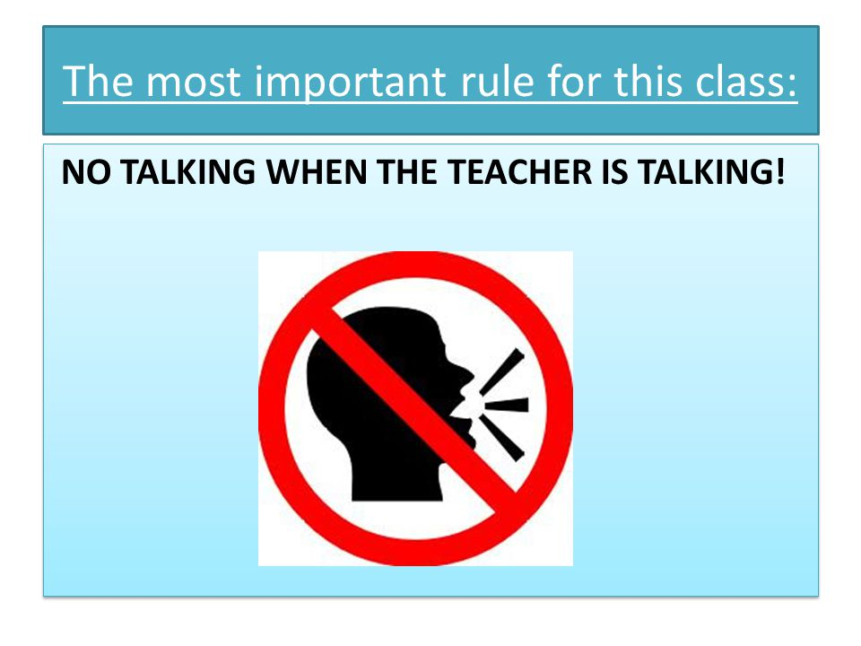 no talking in class