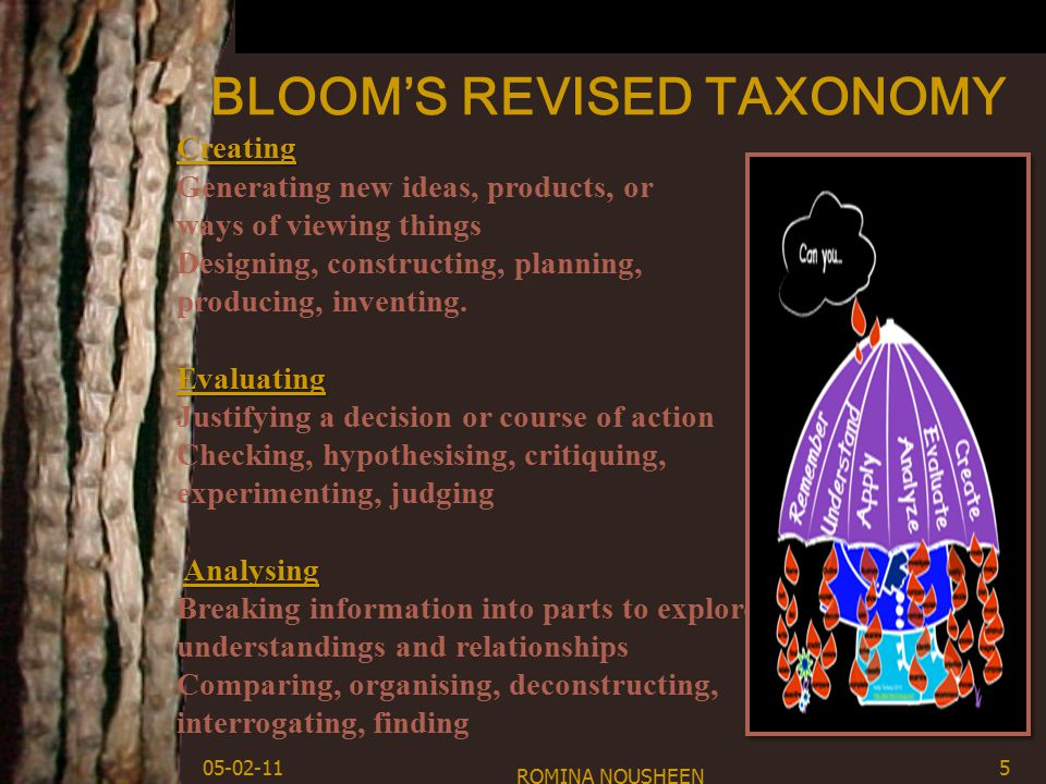BLOOM'S REVISED TAXONOMY ROMINA NOUSHEEN 5 Creating Creating Generating new ideas, products, or ways of viewing things Designing, constructing, planning, Evaluating Analysing producing, inventing.