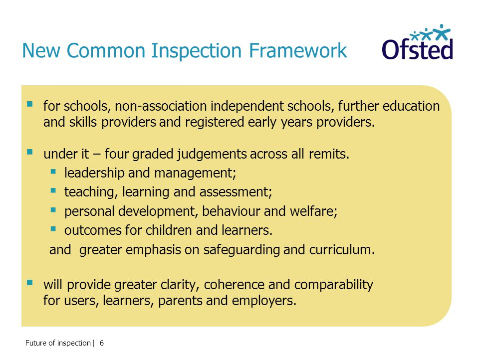 New Common Inspection Framework  for schools, non-association independent schools, further education and skills providers and registered early years providers.