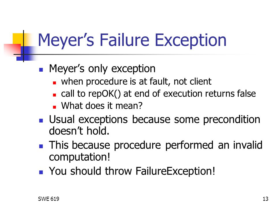 SWE Meyer's Failure Exception Meyer's only exception when procedure is at fault, not client call to repOK() at end of execution returns false What does it mean.