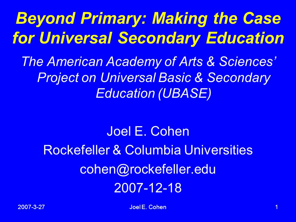 international perspectives on the goals of universal basic and secondary education cohen joel e malin martin b