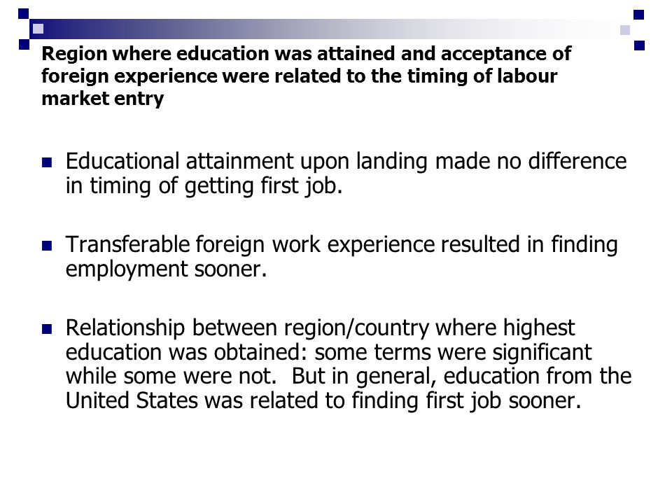 Region where education was attained and acceptance of foreign experience were related to the timing of labour market entry Educational attainment upon landing made no difference in timing of getting first job.