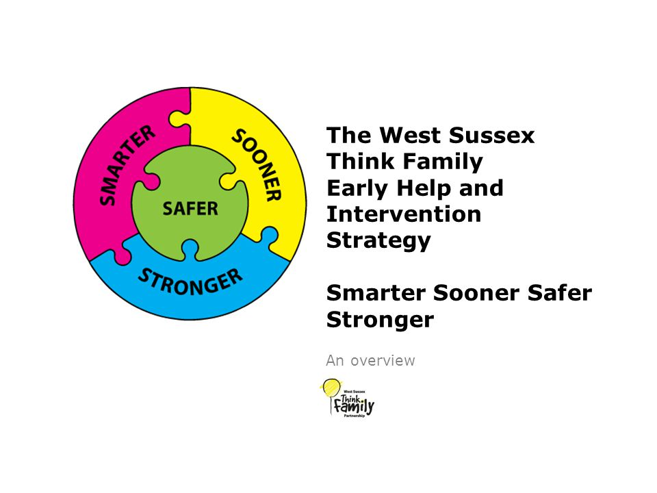 The West Sussex Think Family Early Help and Intervention Strategy Smarter Sooner Safer Stronger An overview