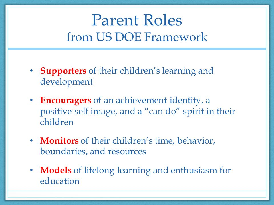 Parent Roles from US DOE Framework Supporters of their children's learning and development Encouragers of an achievement identity, a positive self image, and a can do spirit in their children Monitors of their children's time, behavior, boundaries, and resources Models of lifelong learning and enthusiasm for education