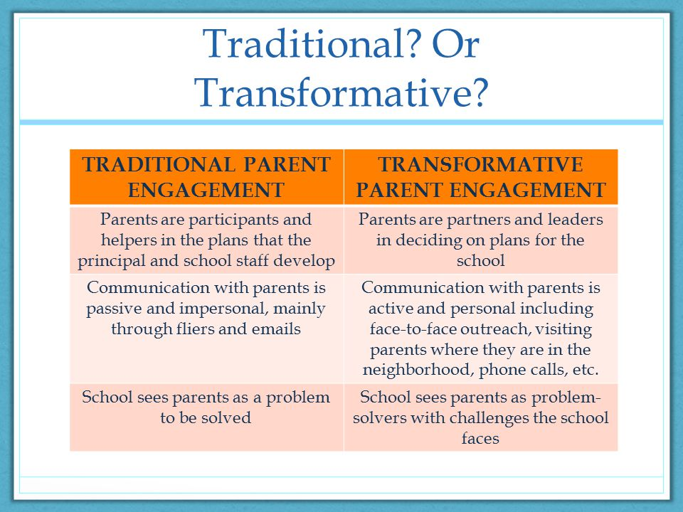 Traditional. Or Transformative.