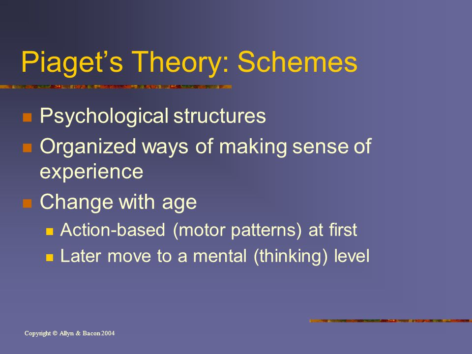 Copyright © Allyn & Bacon 2004 Piaget's Theory: Schemes Psychological structures Organized ways of making sense of experience Change with age Action-based (motor patterns) at first Later move to a mental (thinking) level