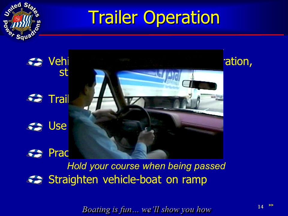 Boating is fun… we'll show you how Trailer Operation Vehicle handles differently – acceleration, stopping, turning, passing Trailers tend to sway Use your mirrors Practice backing in parking lot Straighten vehicle-boat on ramp >> 14 Hold your course when being passed