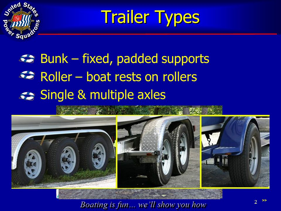 Boating is fun… we'll show you how Trailer Types Bunk – fixed, padded supports Roller – boat rests on rollers Single & multiple axles >> 2