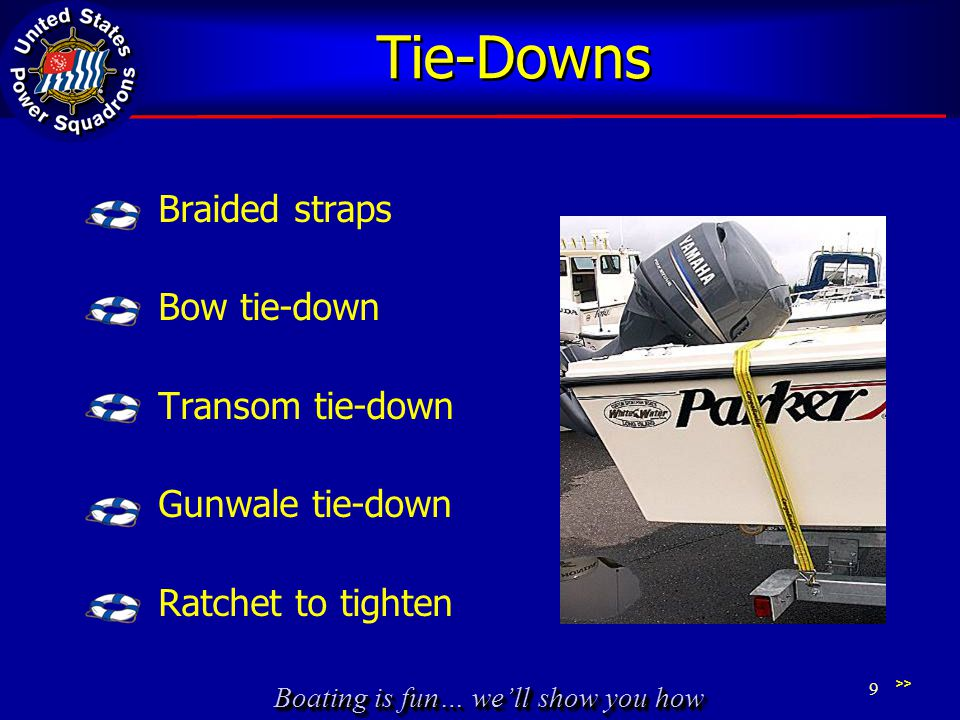 Boating is fun… we'll show you how Tie-Downs Braided straps Bow tie-down Transom tie-down Gunwale tie-down Ratchet to tighten >> 9