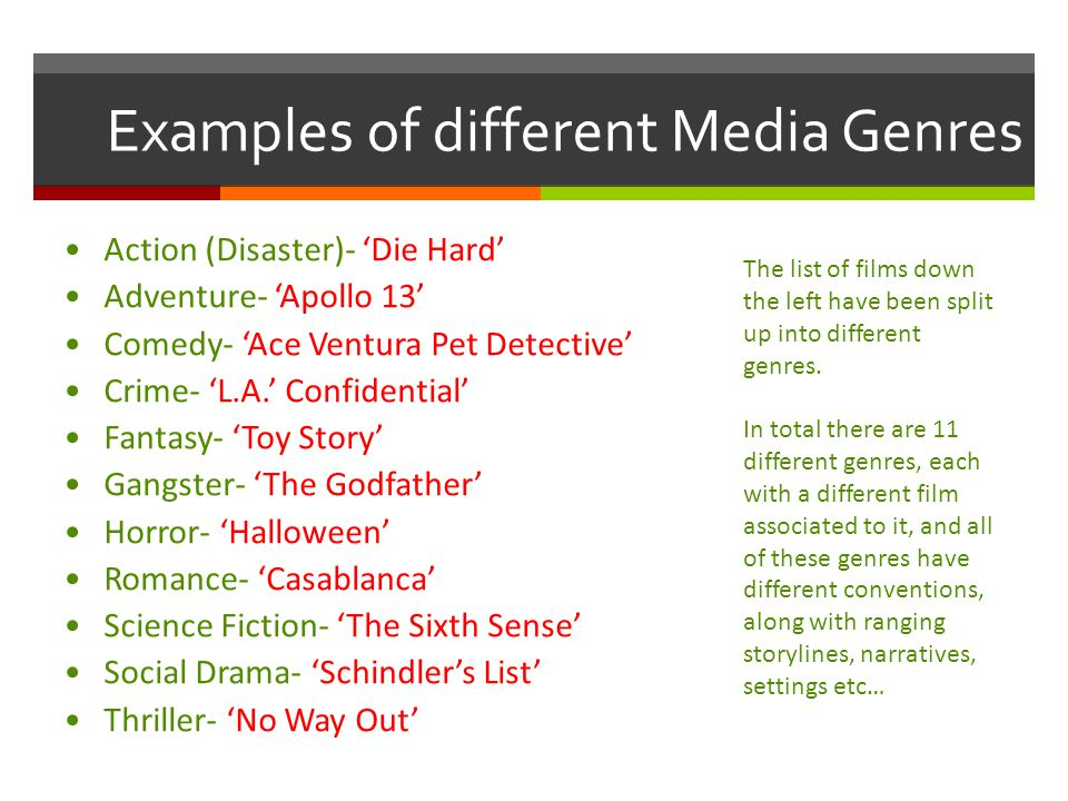 Media Concepts Genre What Is Media Genre Genre Is A Term Which Can
