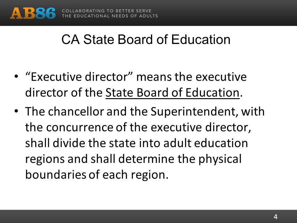 CA State Board of Education Executive director means the executive director of the State Board of Education.