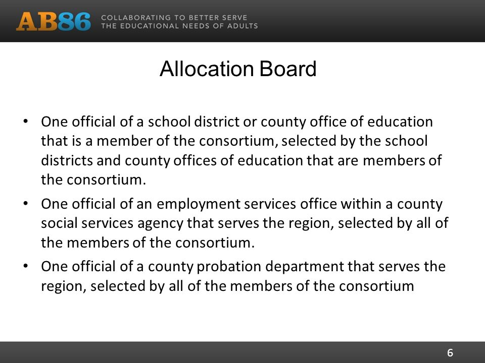 Allocation Board One official of a school district or county office of education that is a member of the consortium, selected by the school districts and county offices of education that are members of the consortium.
