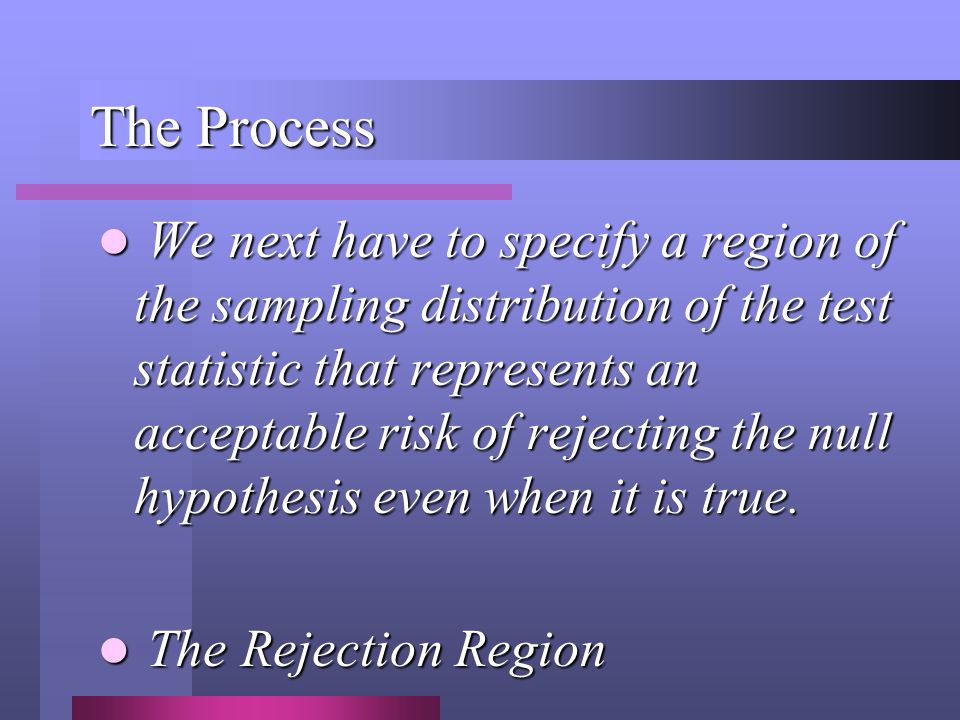 The Process We next have to specify a region of the sampling distribution of the test statistic that represents an acceptable risk of rejecting the null hypothesis even when it is true.